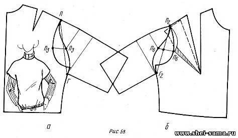 Построение лифа, цельнокроенного с рукавами, следует начинать со спинки.