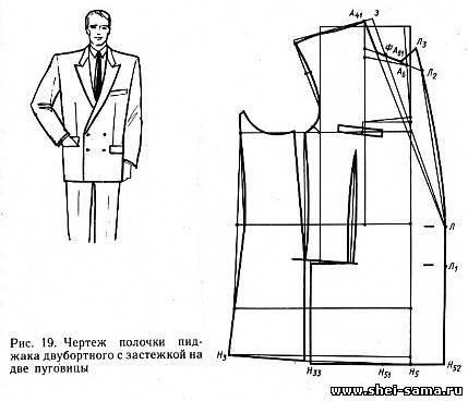 Пример расчёта для построения чертежа основы мужского пиджака полуприлегающего силуэта с отрезным