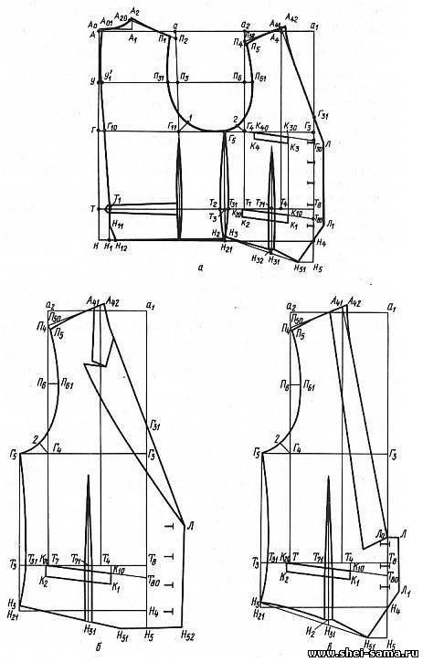 На чертеже основы жилета (см. рис. 83, а) от точки Н5 по горизонтали влево откладывают 3 - 4 см и ставят точку Н51. .