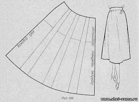 Как сшить расклешенную юбку к низу