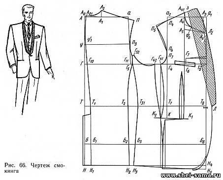 Пример расчёта для построения чертежа основы мужского пиджака полуприлегающего силуэта с отрезным бочком на типовую