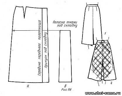 Выкройка юбки с кокеткой спереди и складками