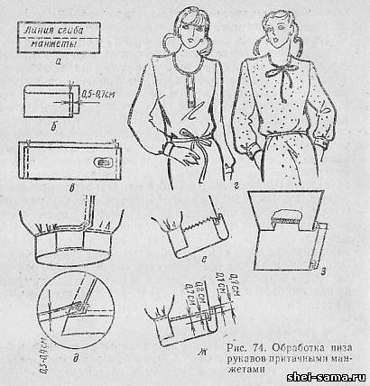Обработка манжеты на платье