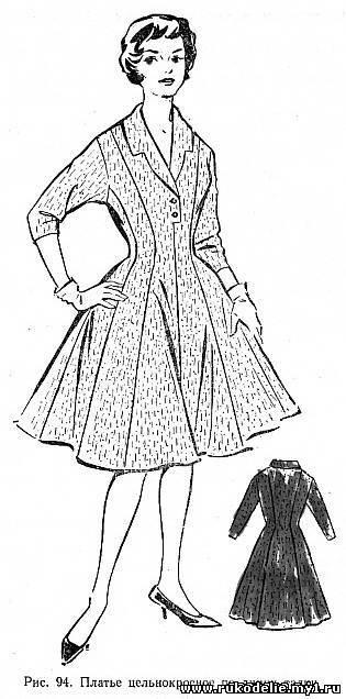 13)Платье цельнокроеное по линии талии/Построение чертежа основной выкройки прилегающего платья.