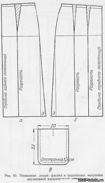 Нанесение линий фасона и подготовка выкройки двухшовной юбки