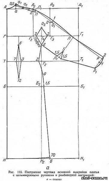 16)Платье бальное/Построение чертежа основной выкройки платья с цельнокроеными рукавами и ромбовидной ластовицей.