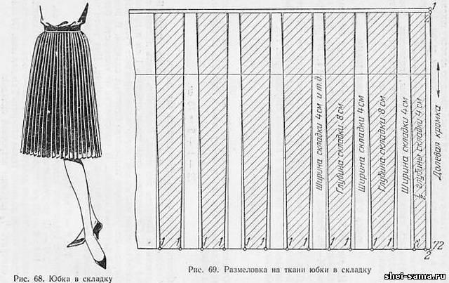 юбка прямого покроя в складку