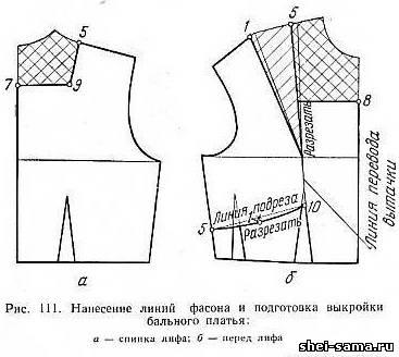 Нанесение линий фасона и подготовка выкройки бального платья