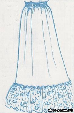 Широкая юбка с оборками