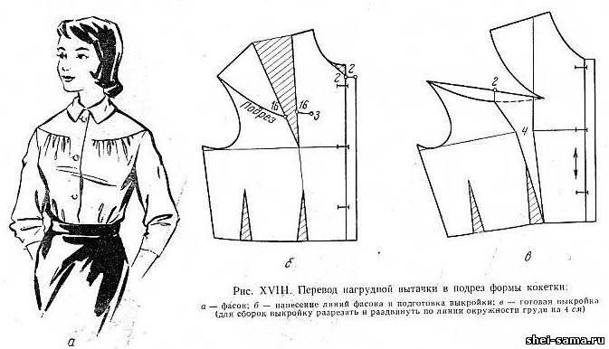 Перевод нагрудной вытачки в подрез формы кокетки