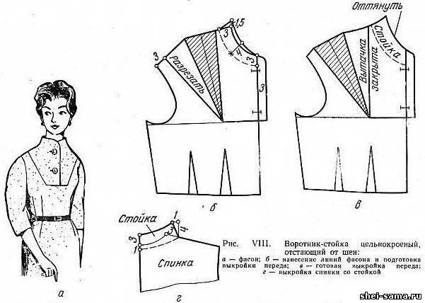 Воротник-стойка цельнокроеный, отстающий от шеи