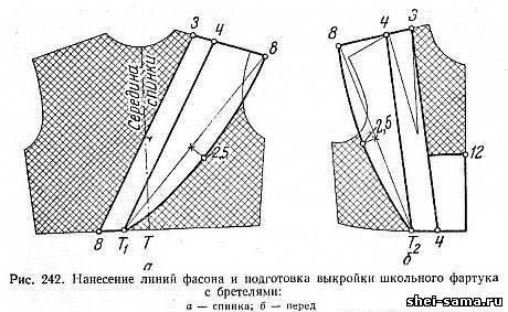 Нанесение линий фасона и подготовка выкройки школьного фартука с бретелями