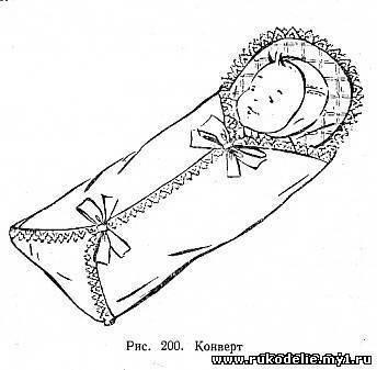 Конверт отделывают кружевом и лентами. В комплект для новорожденного входит: конверт, распашонка, чепчик, нагрудник