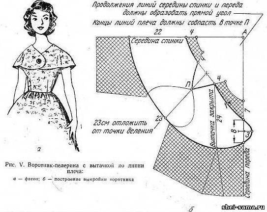 Воротник-пелерина с вытачкой по линии плеча