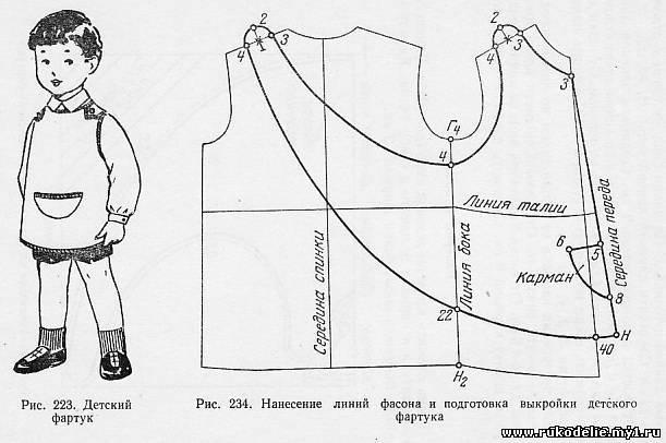 Нанесение линий фасона и подготовка выкройки. Детский фартук (рис. 233) можно шить из плотной хлопчатобумажной и