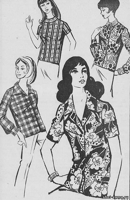 Построение чертежа выкройки блузы с рюшами
